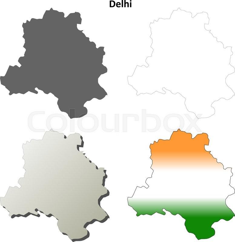 Delhi blank detailed vector outline map set  Stock Vector  Colourbox