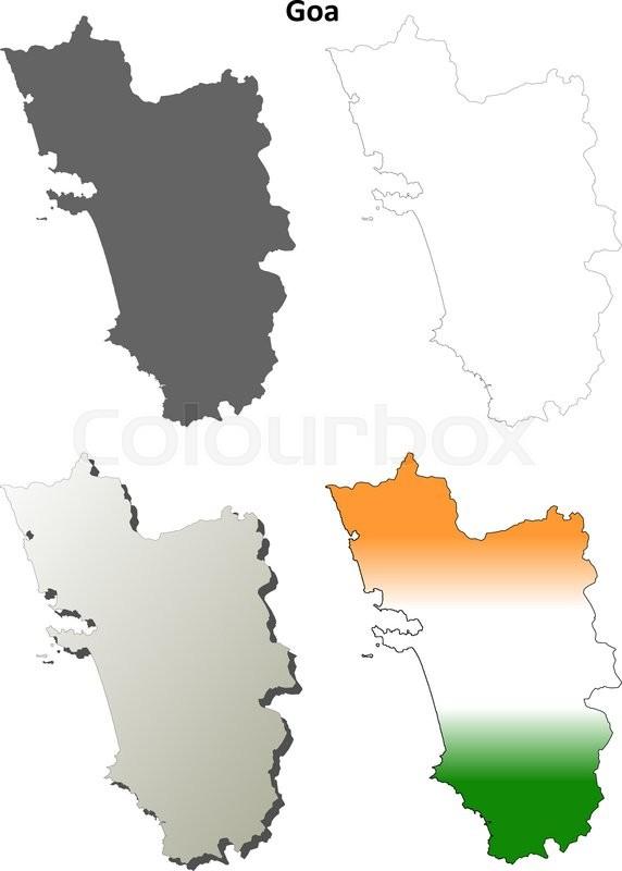 Goa blank detailed vector outline map ... | Stock Vector | Colourbox