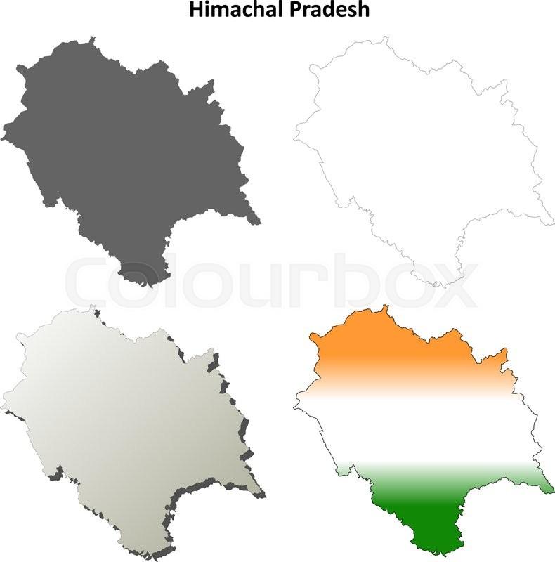 Himachal Pradesh blank detailed ... | Stock vector | Colourbox