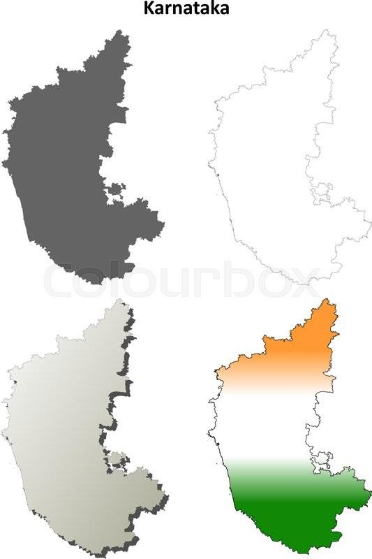 Karnataka blank detailed vector outline map set | Stock Vector ...