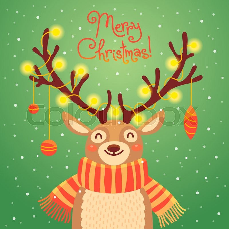 Christmas Card With Santa Reindeer Cute Cartoon Deer Garlands On The Horns And Scarf Merry Background