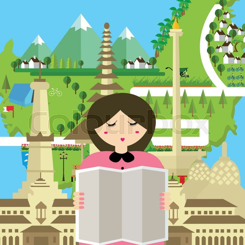Woman people read map indonesia tourism bali bandung jakarta woman people read map indonesia tourism bali bandung jakarta yogyakarta monument travel asia vector stock vector colourbox sciox Choice Image