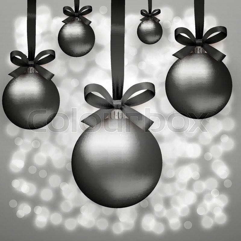 Black Christmas Balls.Five Black Christmas Balls With Ribon Stock Vector Colourbox