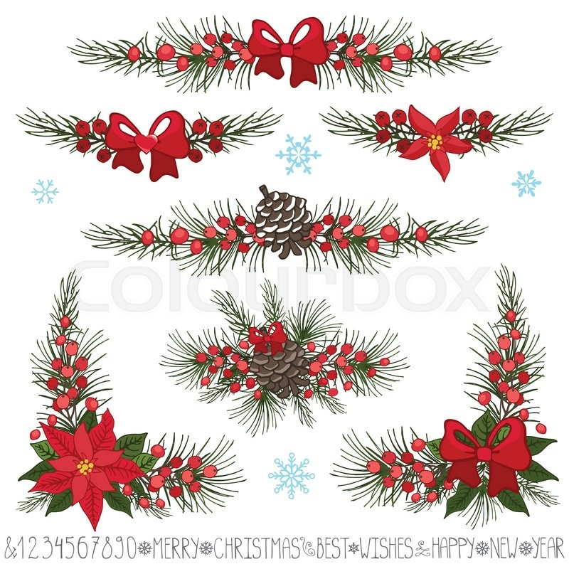 stock vector of merry christmasnew year decor setgarland borders and corners