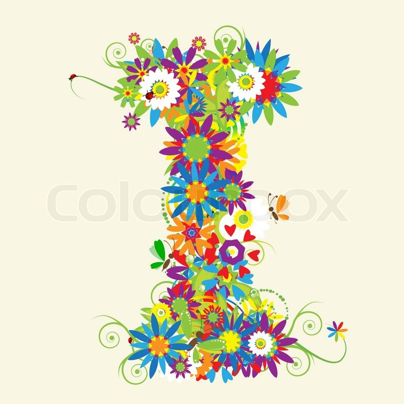 Letter F, floral design. See also letters in my gallery | Stock ...
