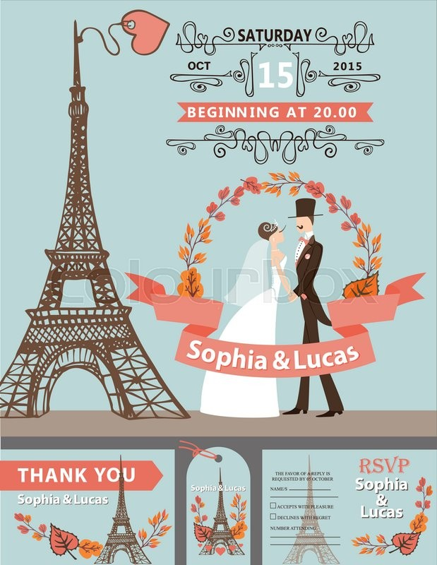 Vintage wedding invitation cartoon flat bride groom on for Vintage wedding dresses paris