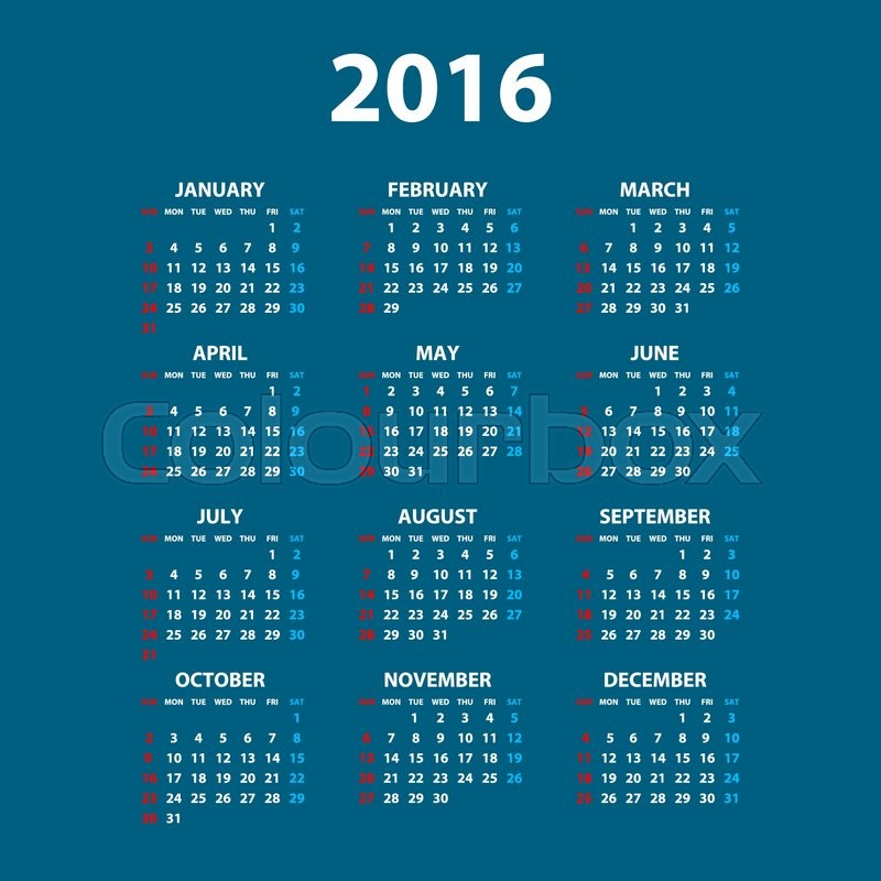 Calendar Design Date : Calendar simple design art date color stock vector