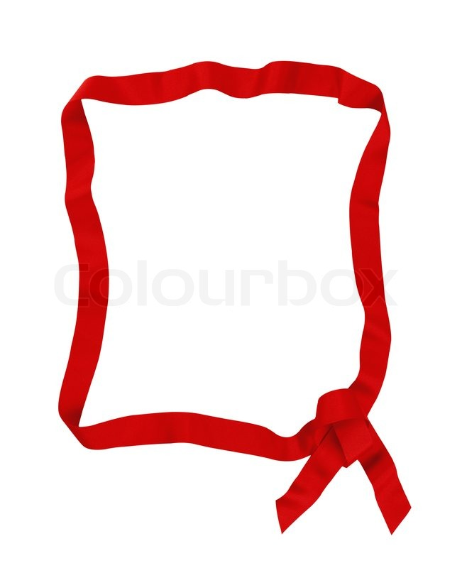 Red ribbon bow frame with copy space for your text | Stock Photo ...