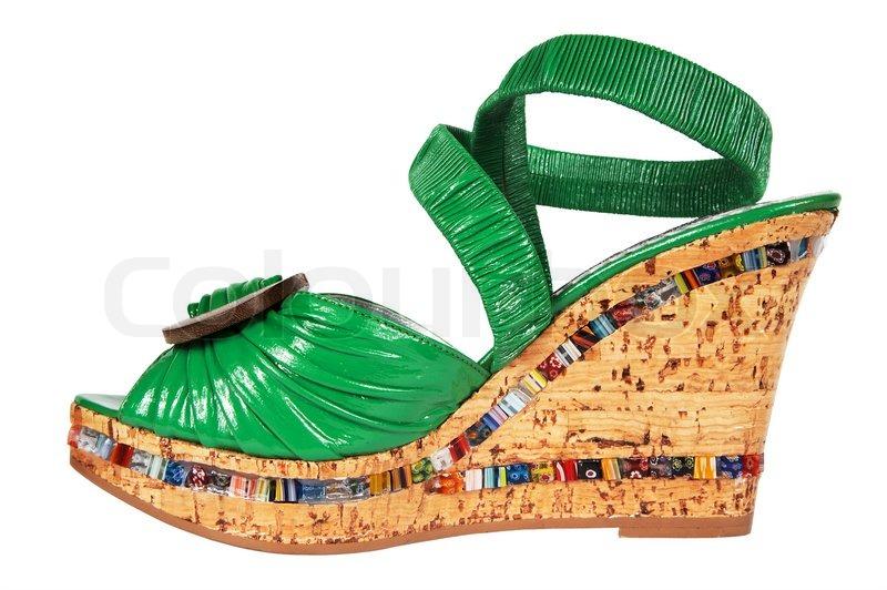 9a9b67f2e64 Kvinde grønne sko på et højt kork ...   Stock foto   Colourbox