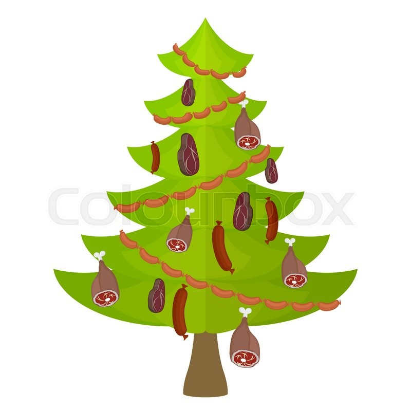 Tree meat food and delicacy christmas tree decorated with for Bacon christmas tree decoration