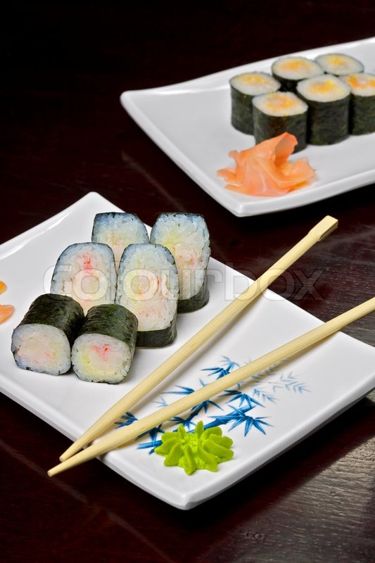 Sushi Roll Made Of Smoked Eel Cream Cheese And Deep