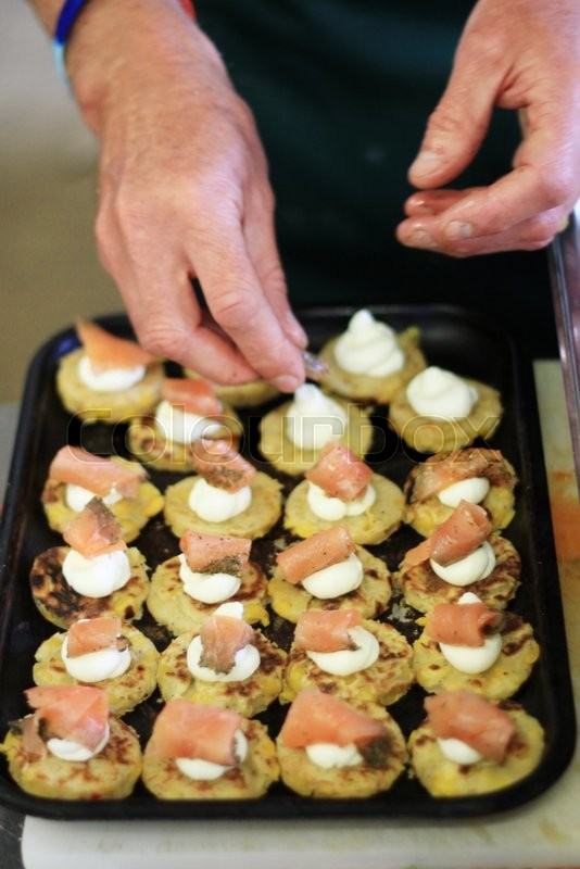 Smoked salmon corn bread canapes stock photo colourbox for Canape suppliers