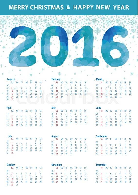 calendar 2016 with polygon blue numbers and snowflakes modern