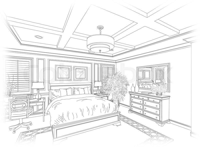 detailed line drawing of a beautiful stock photo. Black Bedroom Furniture Sets. Home Design Ideas