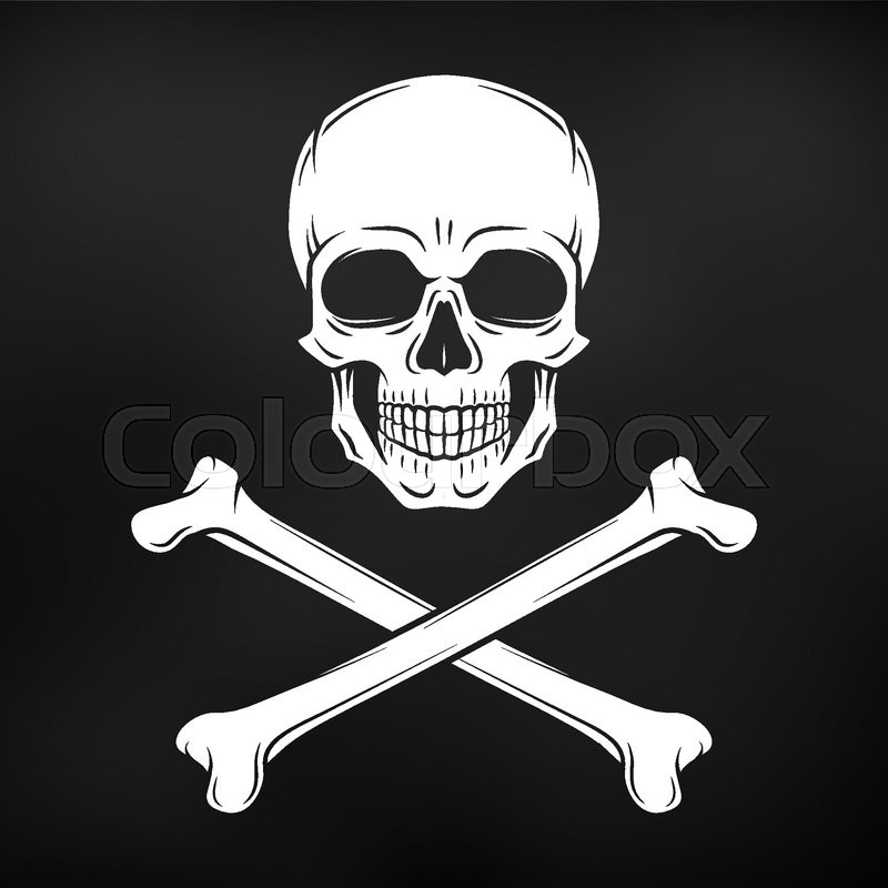 Human evil skull vector. Jolly Roger with crossbones logo ...