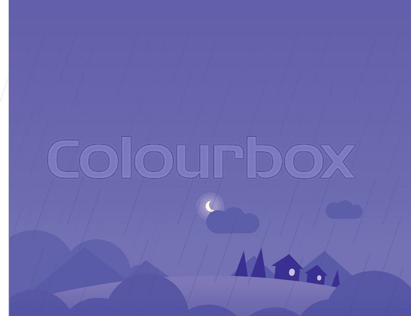 Wallpaper Landscape with Village Houses, Hills and Moon in Rainy Weather, Beautiful Vector Illustration, vector