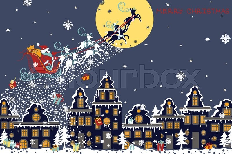 Christmas New Year Greeting Card Santa Claus Sleigh With Reindeer