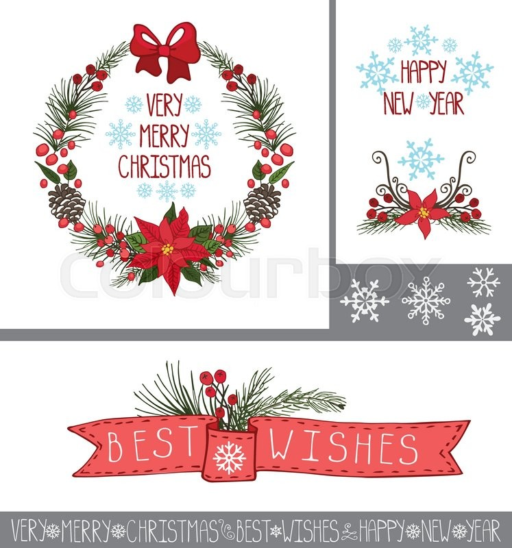 Merry Christmas And Happy New Year Greeting Cards Banners SetSpruce Fir Tree Branchespine Conespoinsettia Flowerred Berriesholly In Wreathribbons