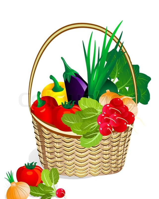 Basket Of Vegetables Clipart : Vegetables in the basket stock vector colourbox