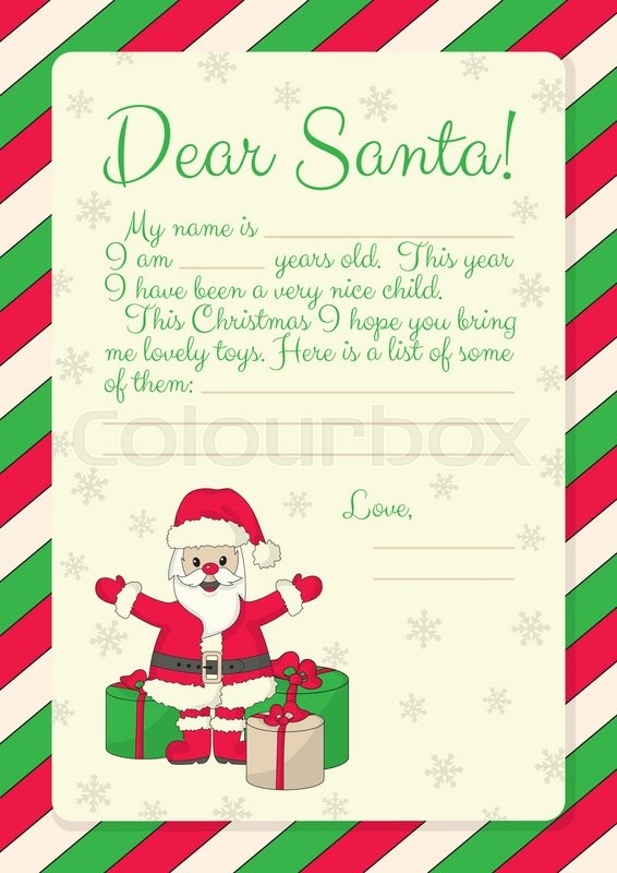 Template for letter to santa with illustration of santa with gifts stock vector of template for letter to santa with illustration of santa with gifts spiritdancerdesigns Images