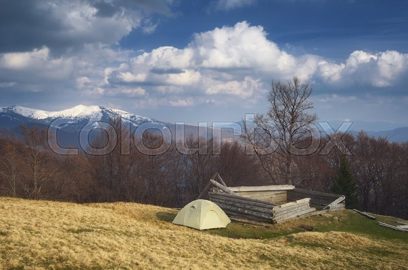 Spring landscape with the beautiful sky. Camping in the mountains. Carpathians, Ukraine, Europe, stock photo