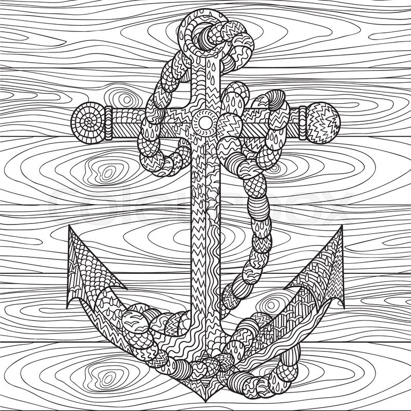 Hand Drawn Illustration Of An Anchor And Rope In The