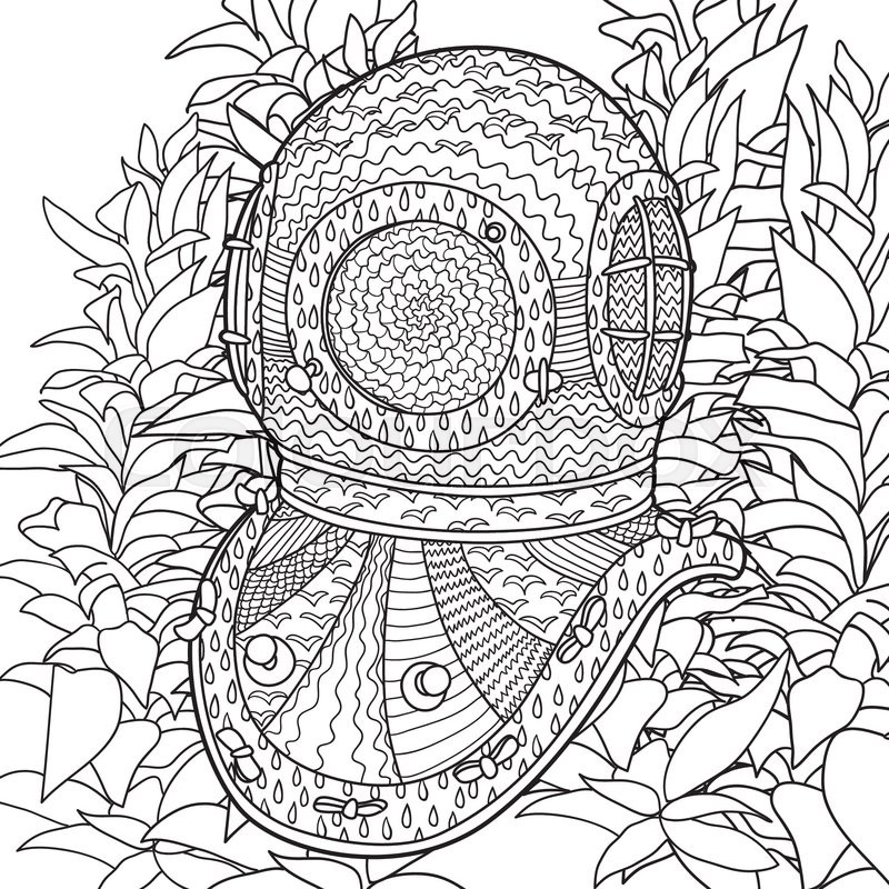hand drawn antique divers helmet and algae coloring pages for adult in zenart style antistress coloring page with marine element