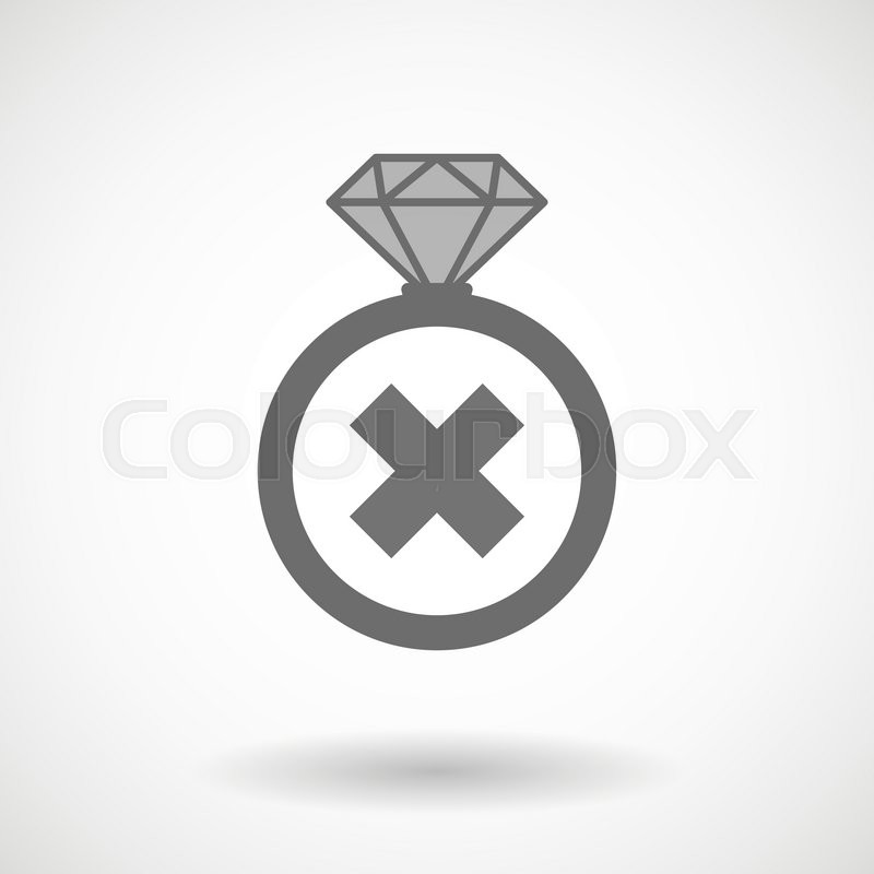 Illustration Of An Isolated Vector Ring Icon With An X Sign Stock