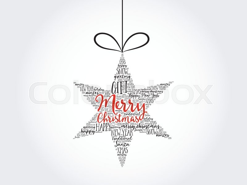 merry christmas christmas star word cloud holidays lettering