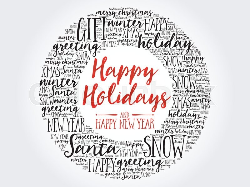 Happy Holidays and Happy new year circle word cloud, holidays ...