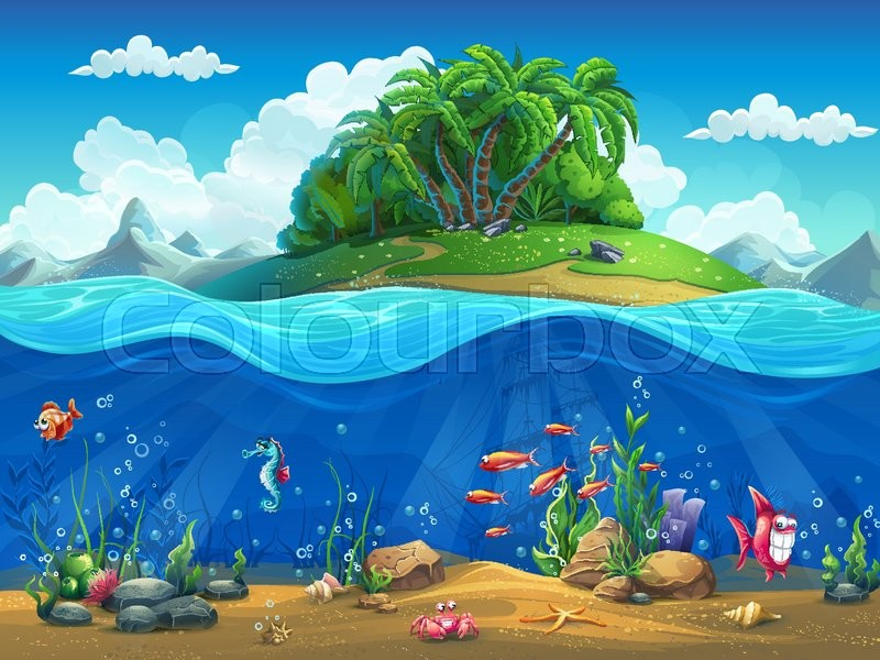 Cartoon underwater world with fish, plants, island, vector