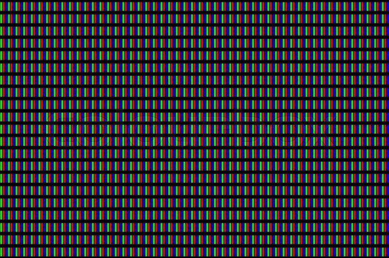 LCD screen pixels triads closeup on black background ...