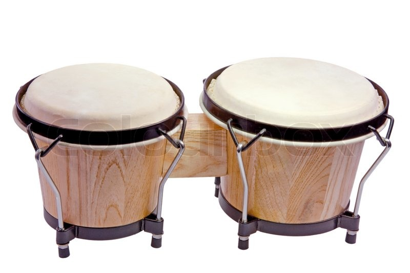 Wooden bongo drums isolated on white stock photo
