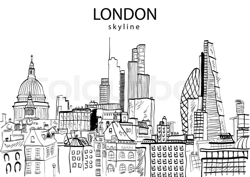 Line Drawing London : London skyline abstract vector illustration stock