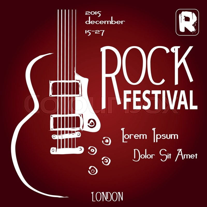 rock festival design template with guitar and place for