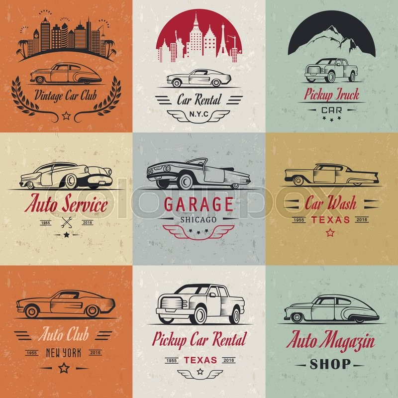 Vector Set Of Vintage Car Symbols And Sign Car Service And Car Sale