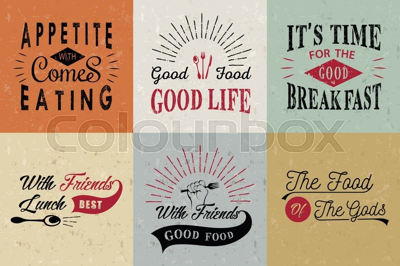 Set Of Vintage Food Typographic Stock Vector Colourbox