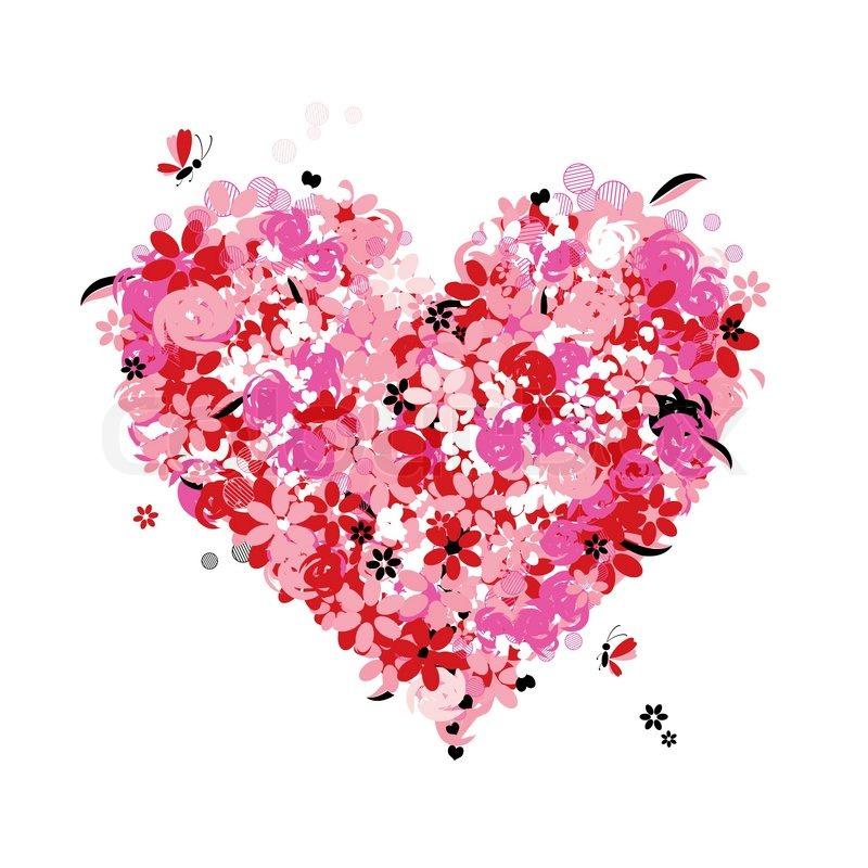 Floral Heart Shape Love Stock Vector Colourbox