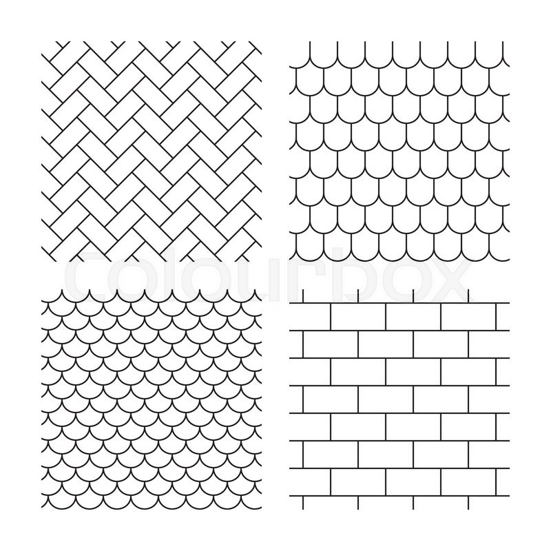 Bricks Tile Roof And Paving Stone Stock Vector