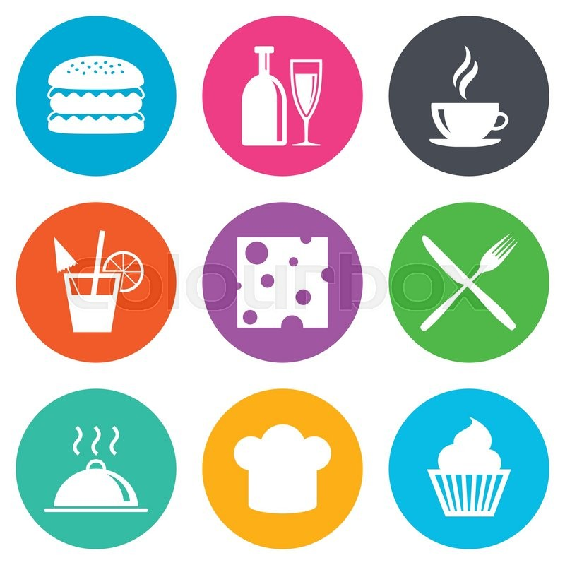 Food, drink icons. Coffee and hamburger signs. Cocktail, cheese and cupcake symbols. Flat circle buttons. Vector, vector