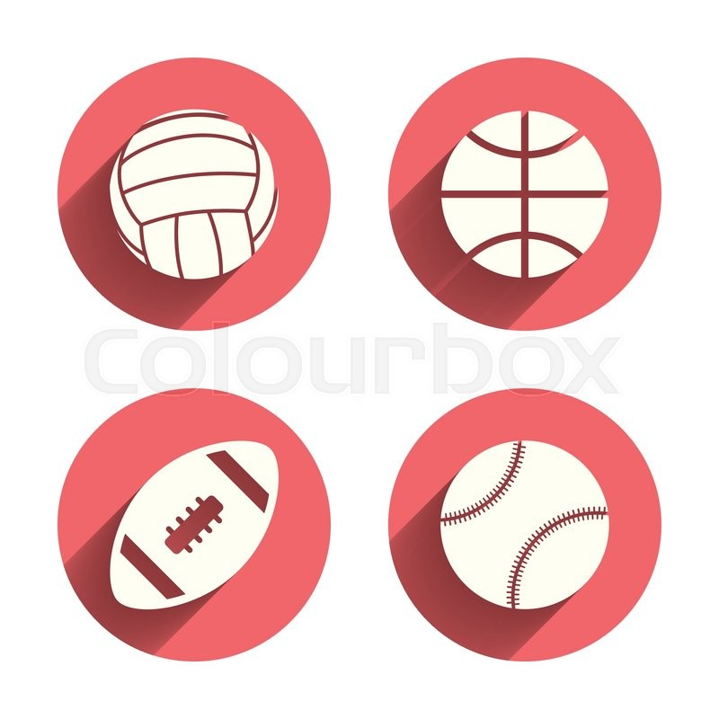 Sport balls icons. Volleyball, Basketball, Baseball and American football signs. Team sport games. Pink circles flat buttons with shadow. Vector, vector