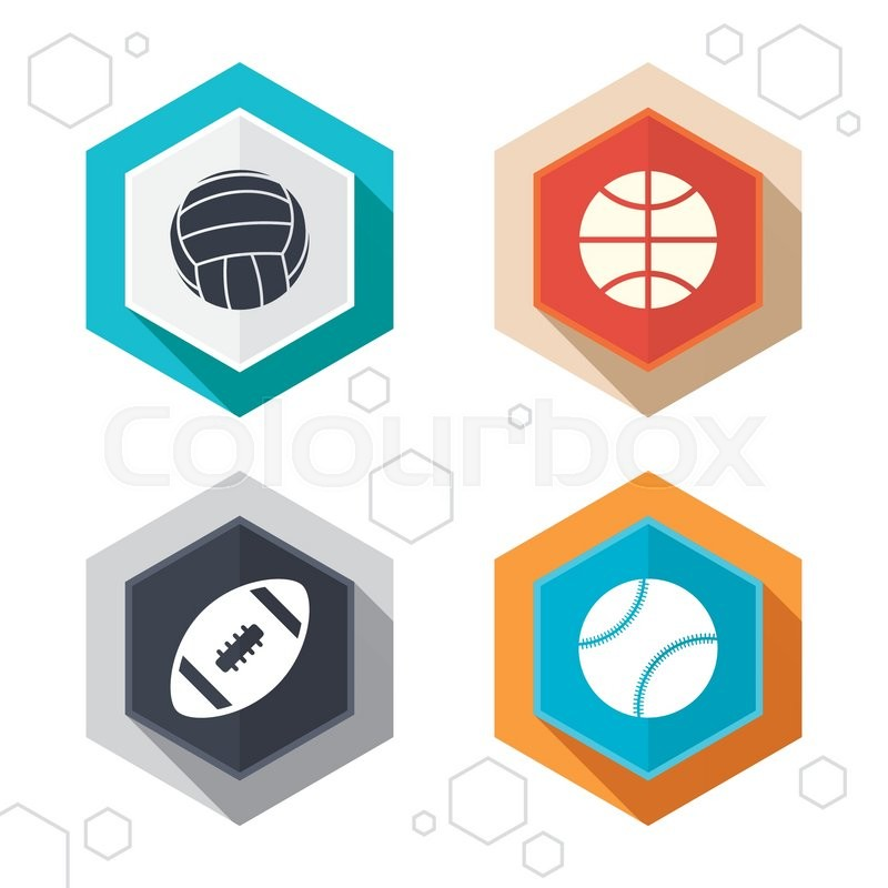 Hexagon buttons. Sport balls icons. Volleyball, Basketball, Baseball and American football signs. Team sport games. Labels with shadow. Vector, vector