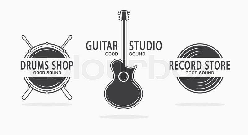 Set Of Vintage Musical Instrument Logos Vector Design Elements For Music Shop Guitar