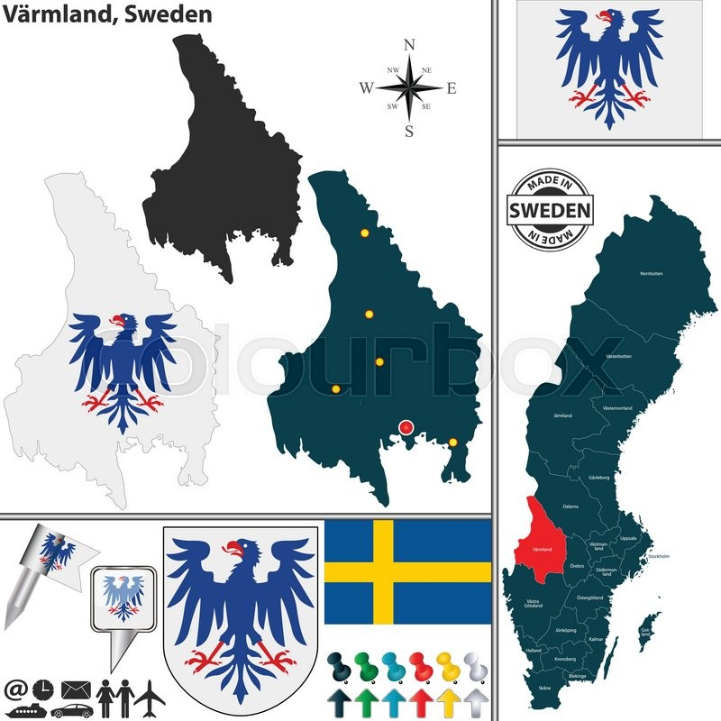 Vector Map Of County Varmland With Coat Of Arms And Location On - Sweden map varmland