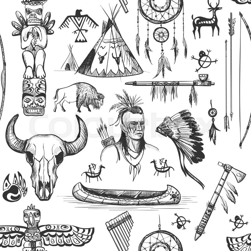 Seamless Pattern American Tribal Native Symbols With Tomahawk Canoe