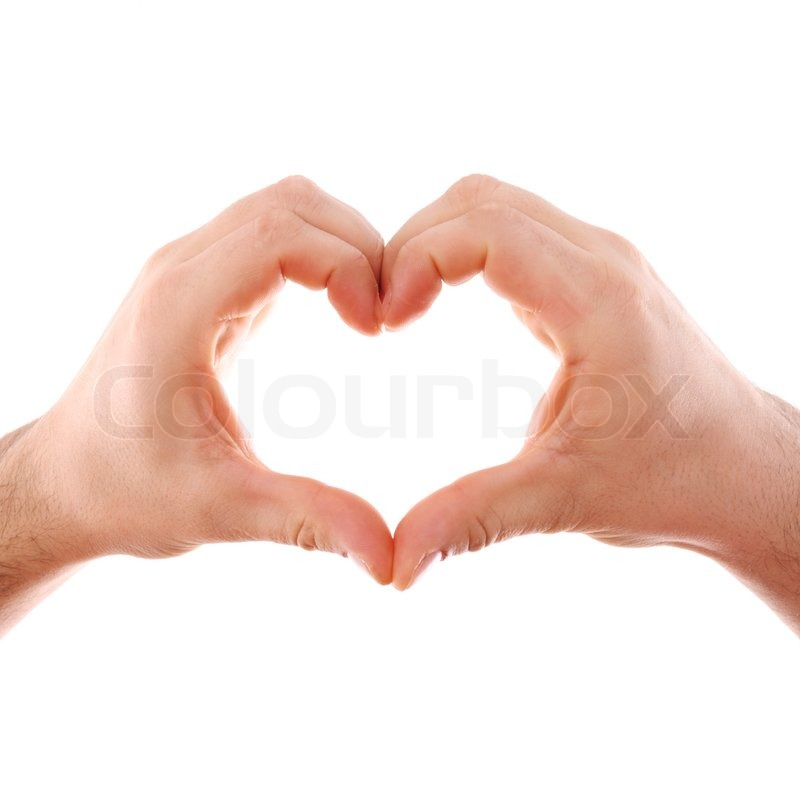 male hands isolated on white with heart symbol stock