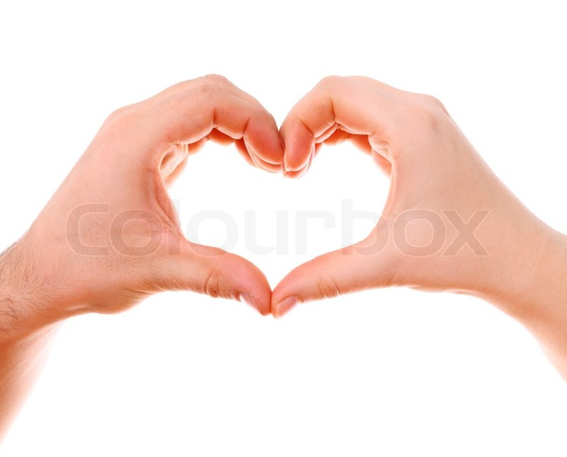Male And Female Hands Isolated On White With Heart Symbol Stock