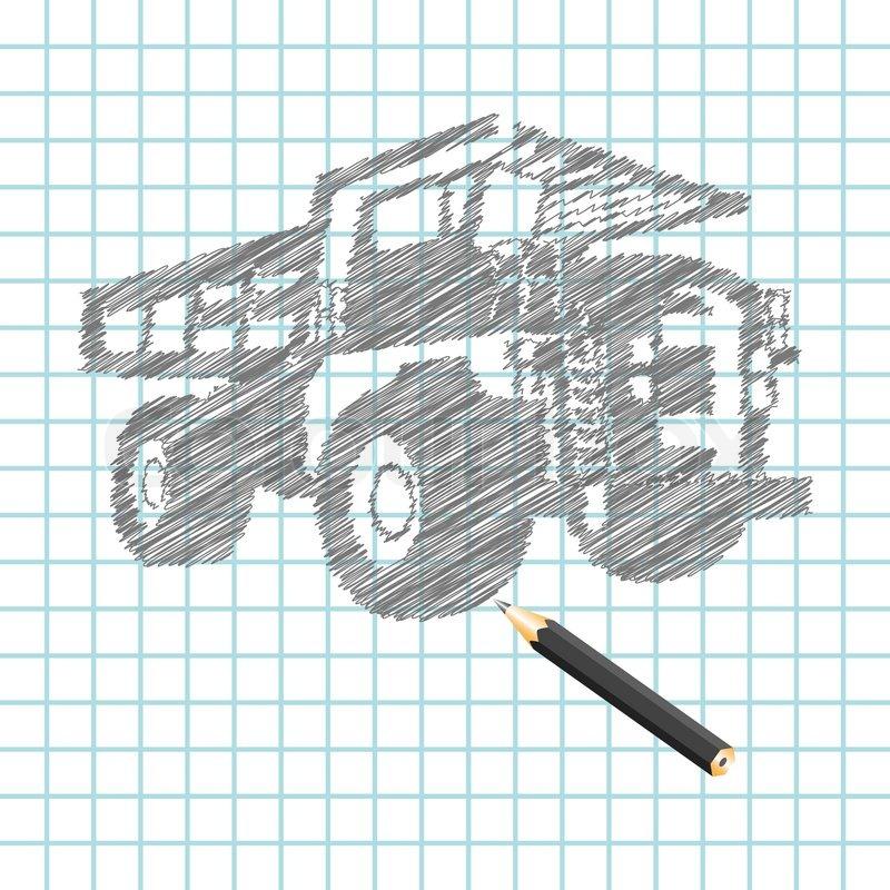 Hand- zu ertränken Fracht LKW Skizze , Vektor-Illustration ...