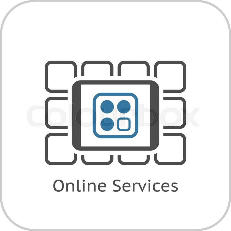Online services icon flat design business concept for Online architect services