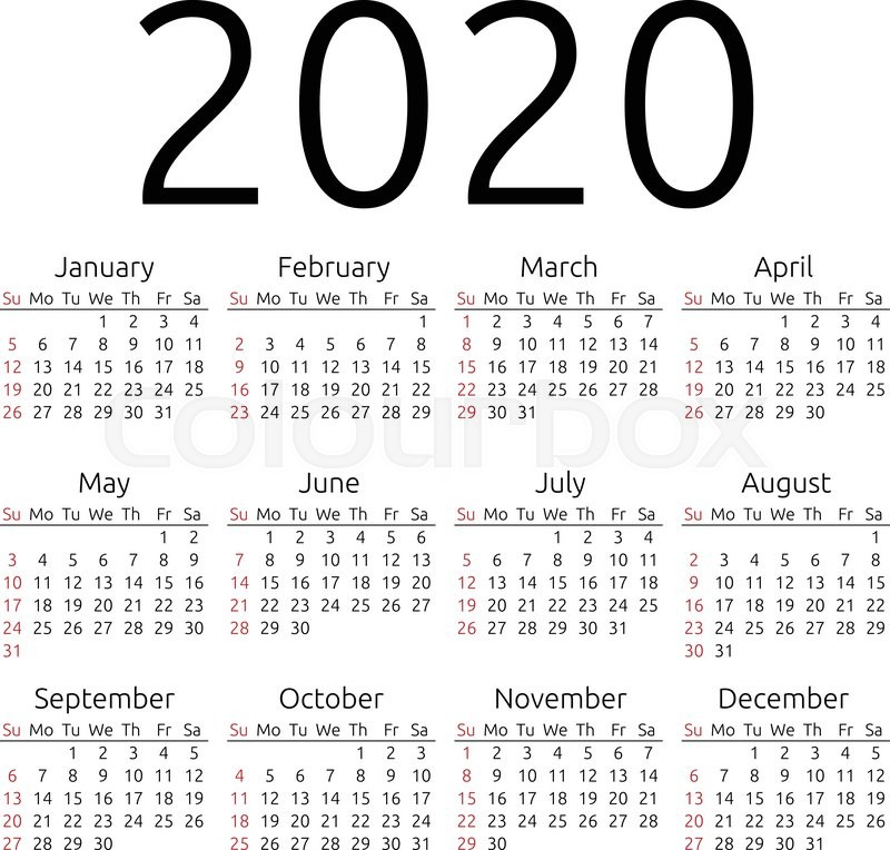 Calendar For The Year 2020 Simple 2020 year calendar, week starts  | Stock vector | Colourbox